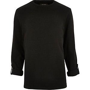 Black airtex long sleeve T-shirt