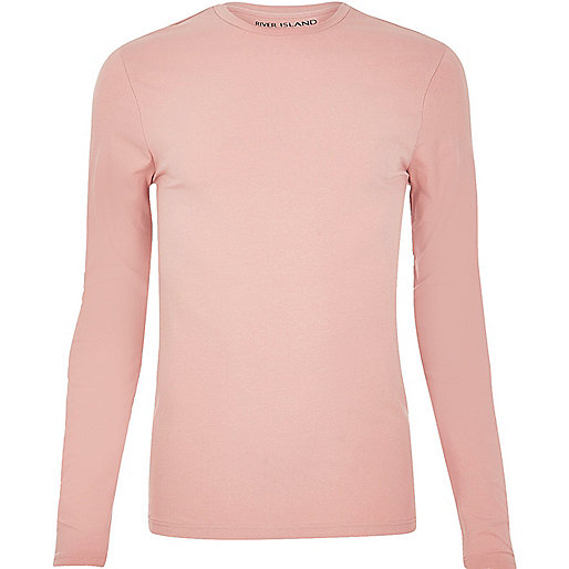 Pink muscle fit long sleeve T-shirt