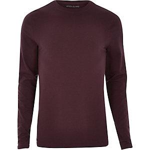 Dark purple muscle fit long sleeve T-shirt