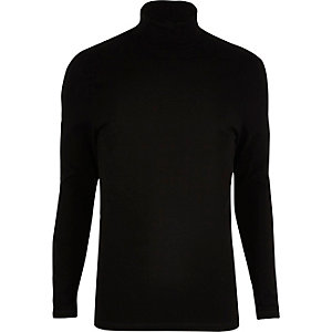 Black muscle fit roll neck jumper