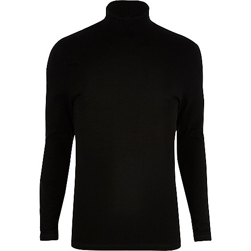 Black muscle fit roll neck sweater