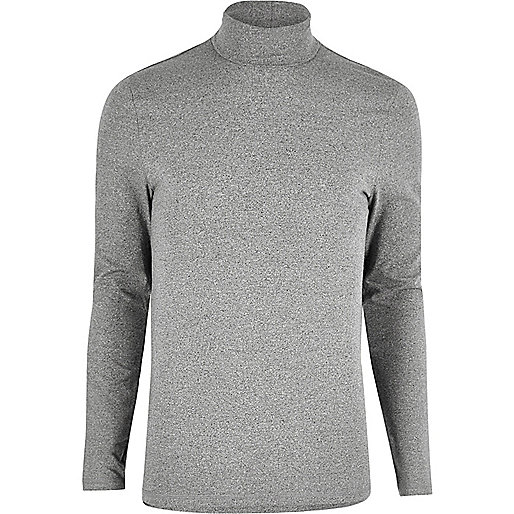 Grey muscle fit roll neck jumper