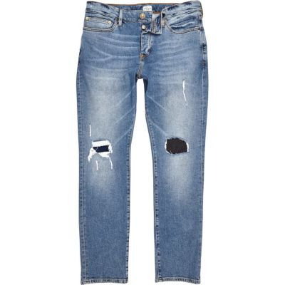 Dylan mid blue wash smalle ripped jeans