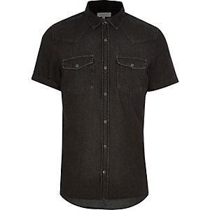 Black washed casual short sleeve denim shirt