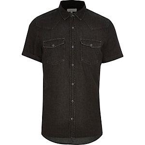 Black washed casual short sleeve denim shirt