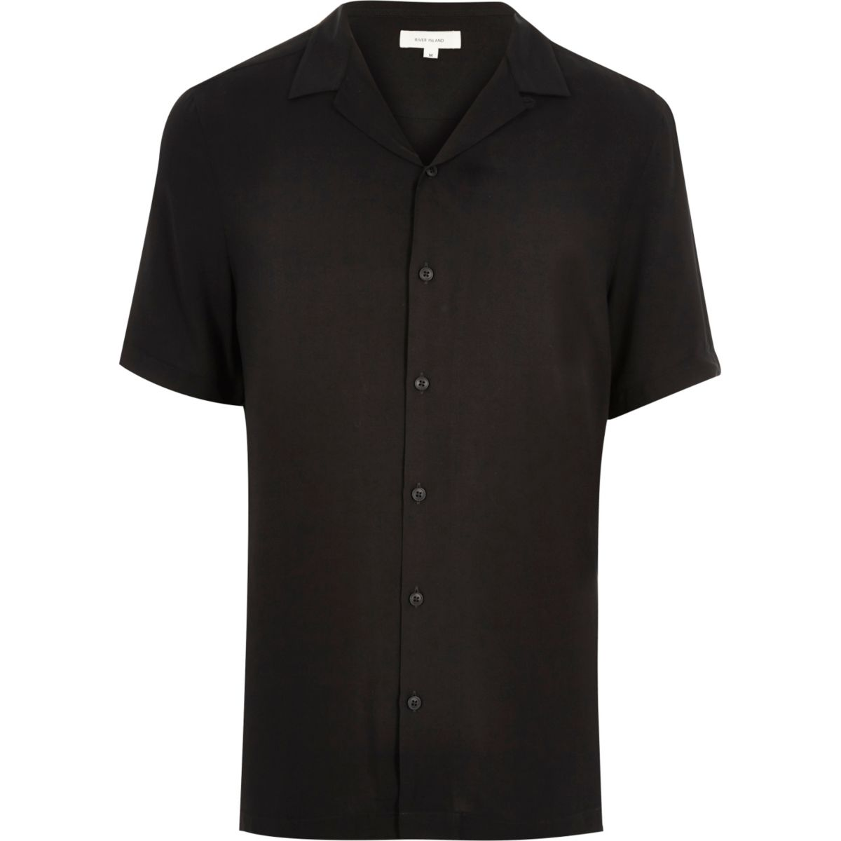 Black revere collar short sleeve shirt