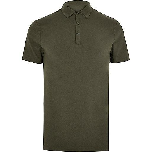 Khaki muscle fit polo shirt