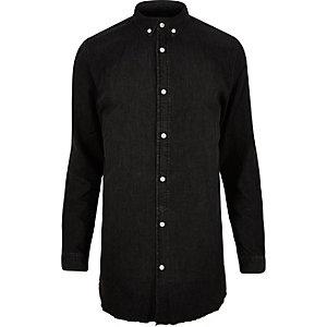 Black washed raw hem longline denim shirt