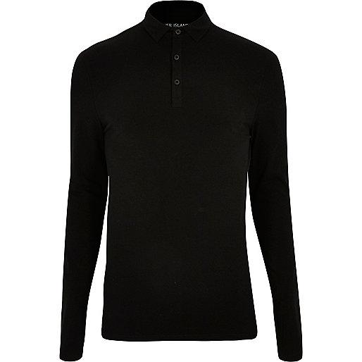 Black muscle fit long sleeve polo top
