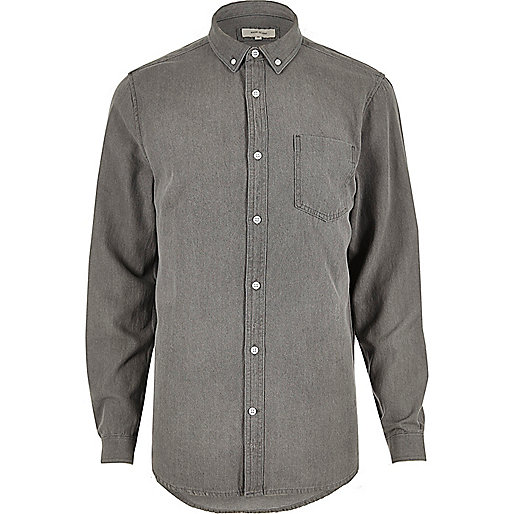 Grey casual denim shirt