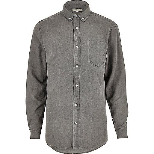 Chemise en jean casual grise