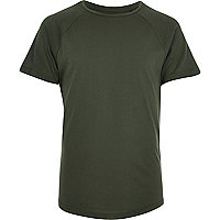 Khaki mesh sleeve slim fit T-shirt