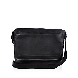 Black textured fold over satchel bag