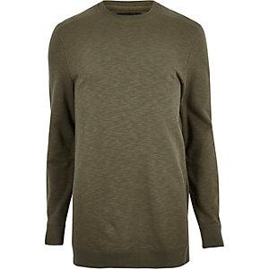 Dark green marl longline long sleeve T-shirt