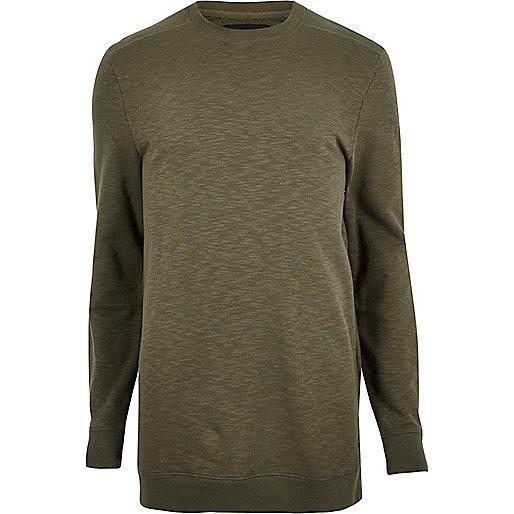 Langes, dunkelgrün meliertes T-Shirt mit langen Ärmeln