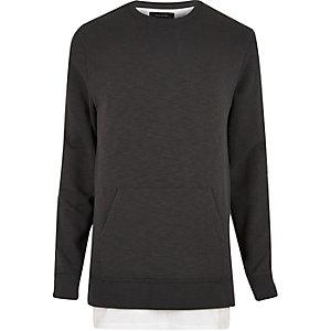 Gelaagd lang sweatshirt met zwarte wassing