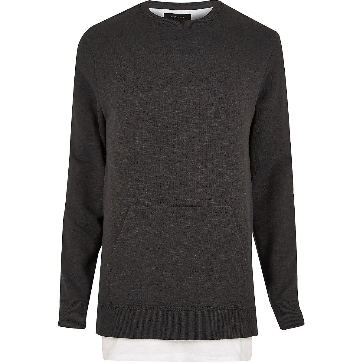 Black washed layered longline sweatshirt