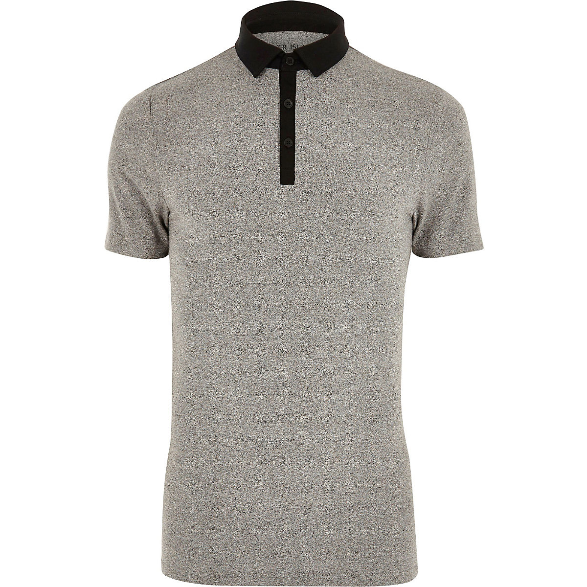 Grey contrast muscle fit polo shirt