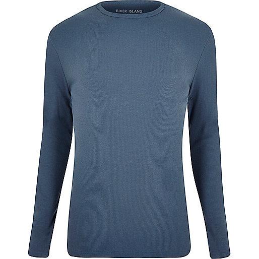 Hellblaues, geripptes Slim Fit T-Shirt