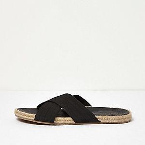 Zwarte jute sandalen met gekruiste banden
