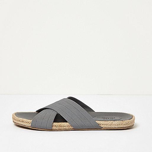 Grey  textile cross over jute sandals