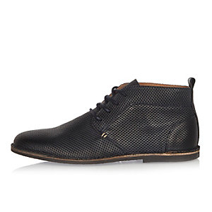 Navy embossed leather desert boots