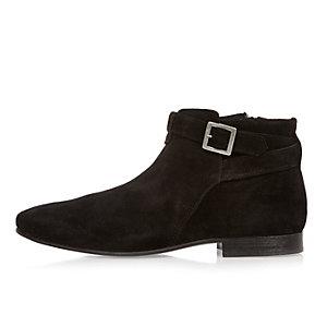 Black suede buckle Chelsea boots