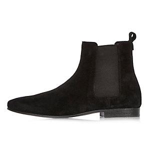 Zwarte suède Chelsea laarzen