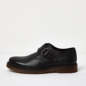 Black leather monk strap shoes