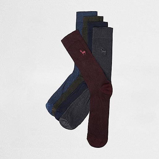 Lot de chaussettes rouges motif cerf