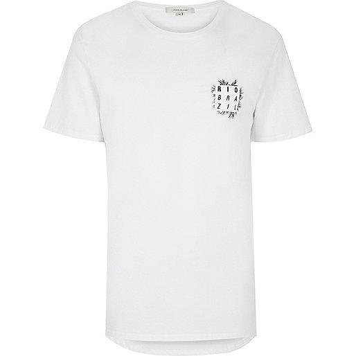 White Rio print longline T-shirt