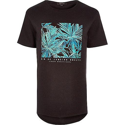 T-shirt noir long imprimé Rio Brazil