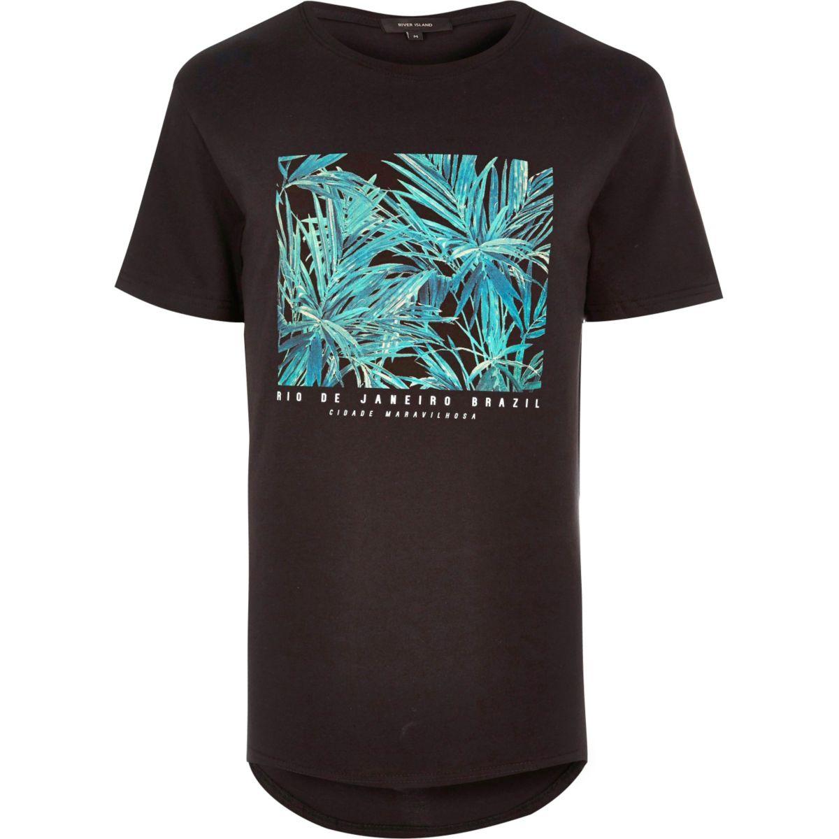 Zwart lang T-shirt met Rio Brazil-print