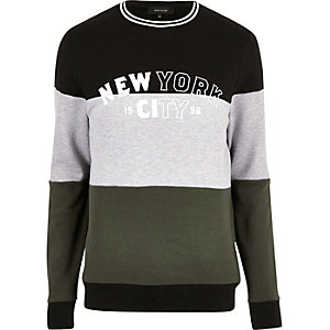 Dark colour block 'New York' sweatshirt