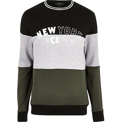 Dark color block 'New York' sweatshirt