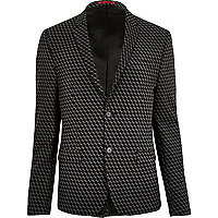 Schwarze Jacquard-Anzugsjacke mit geometrischem Muster