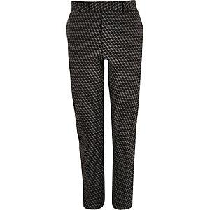 Black geometric print jacquard suit trousers