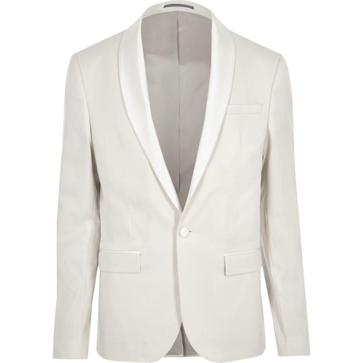 Cream skinny fit suit jacket