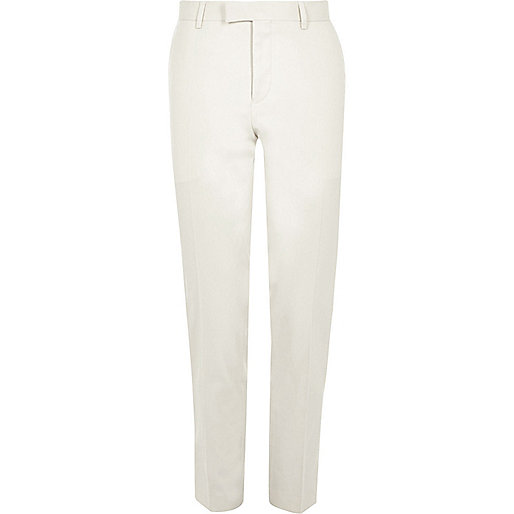 Cream skinny suit trousers