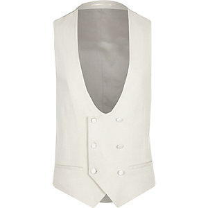 Cream smart slim fit vest