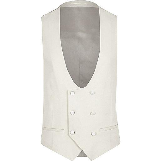 Cream smart slim fit waistcoat