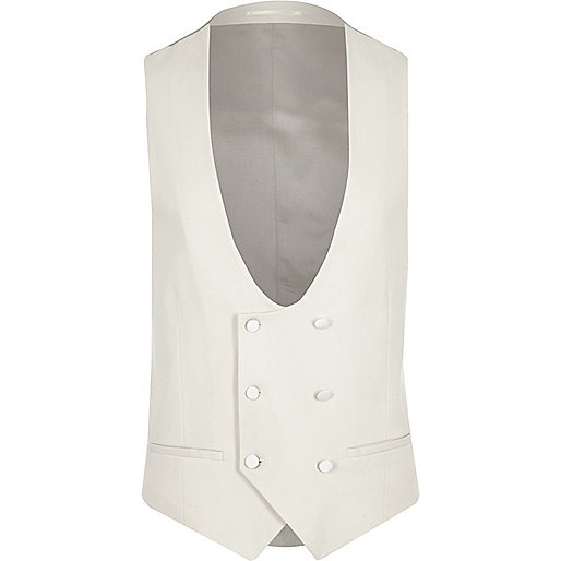 Cream smart slim fit vest