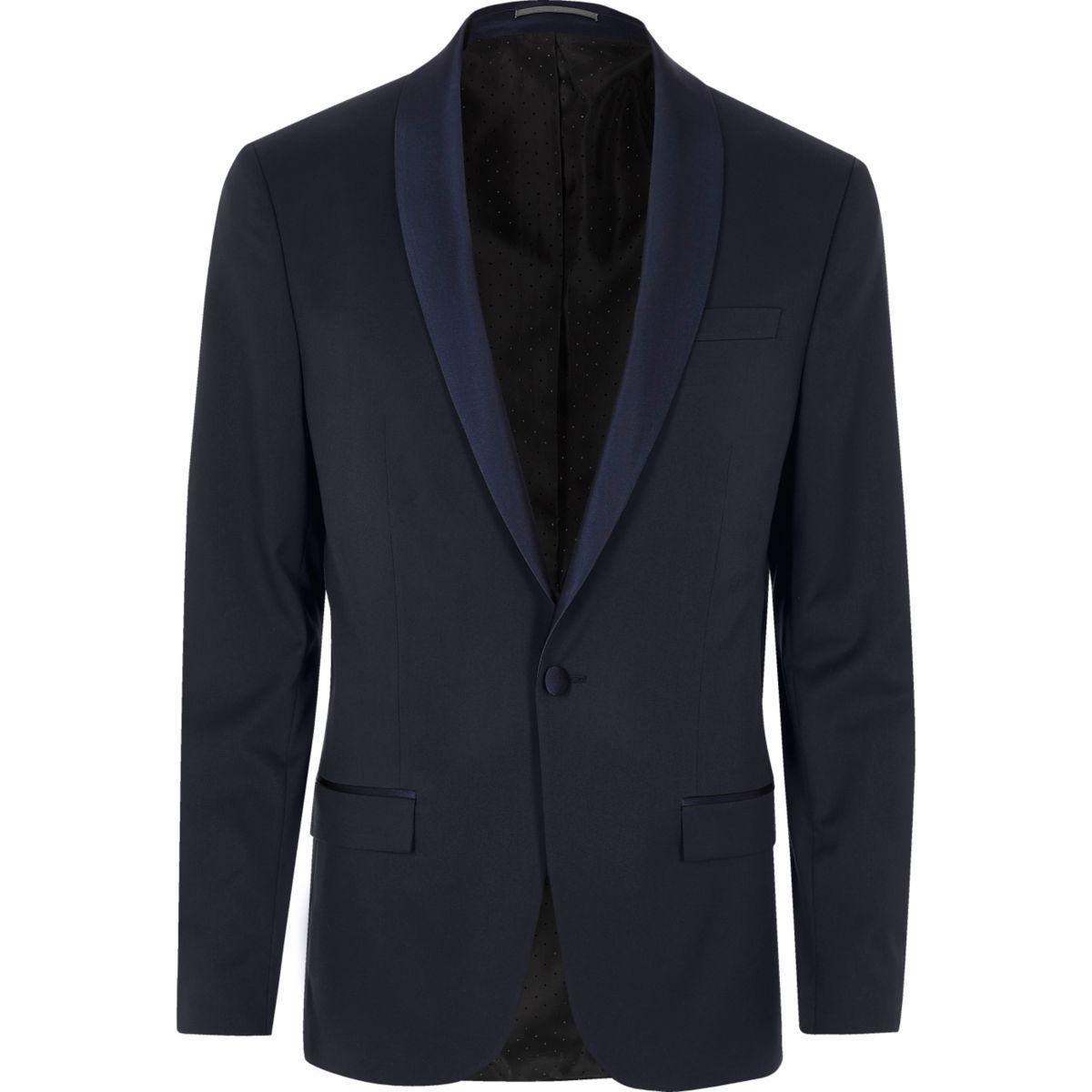 Blue skinny tux suit jacket
