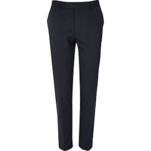 Blue skinny tux suit pants