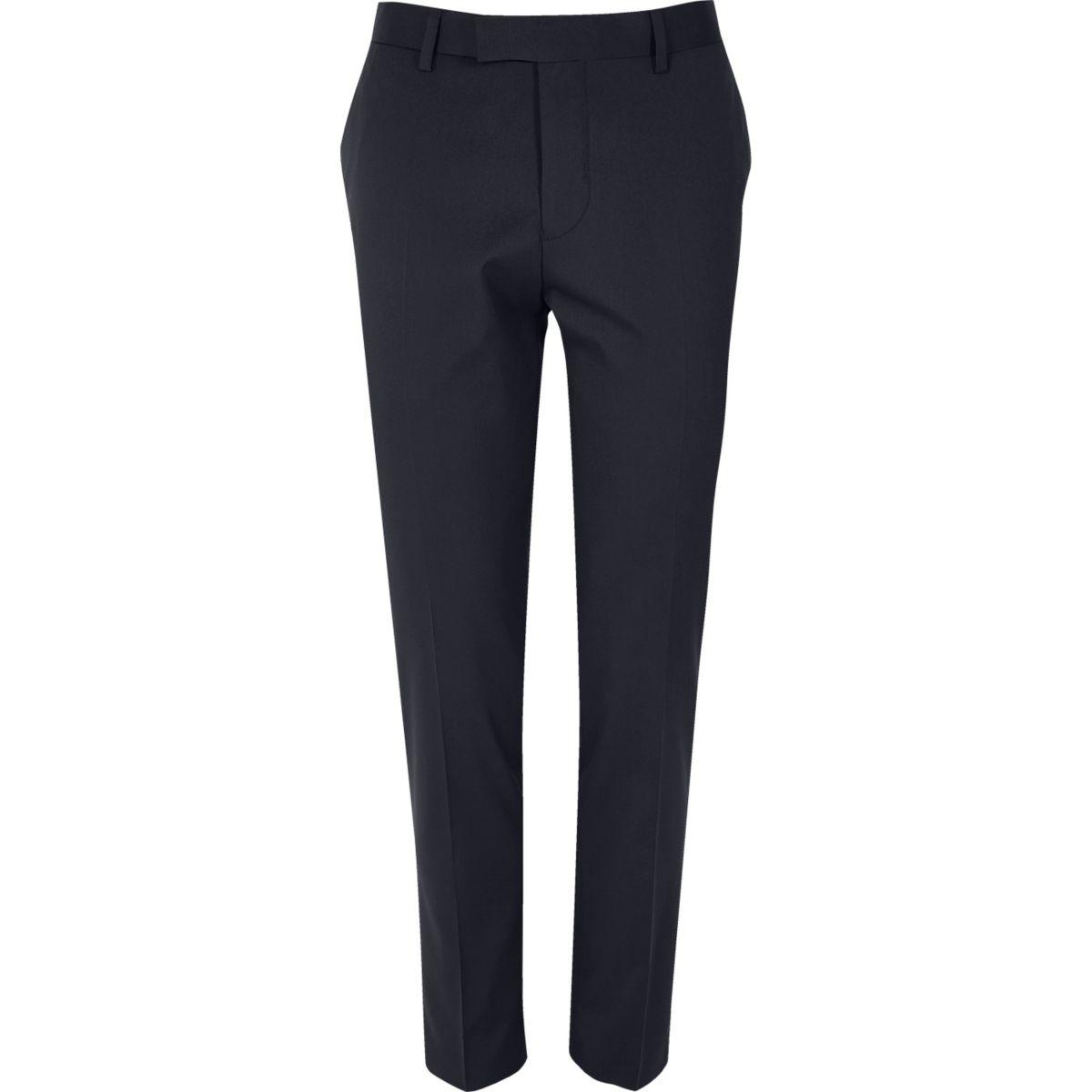 Blue skinny tux suit pants