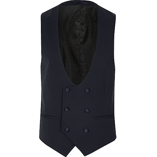 Royal blue double breasted waistcoat