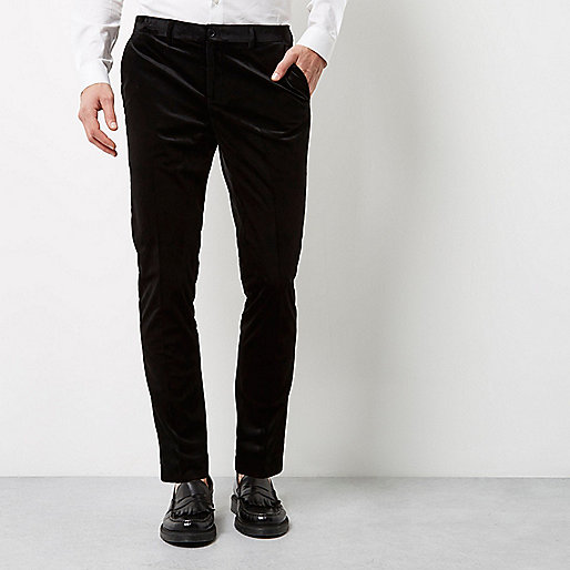 Black smart velvet skinny fit trousers