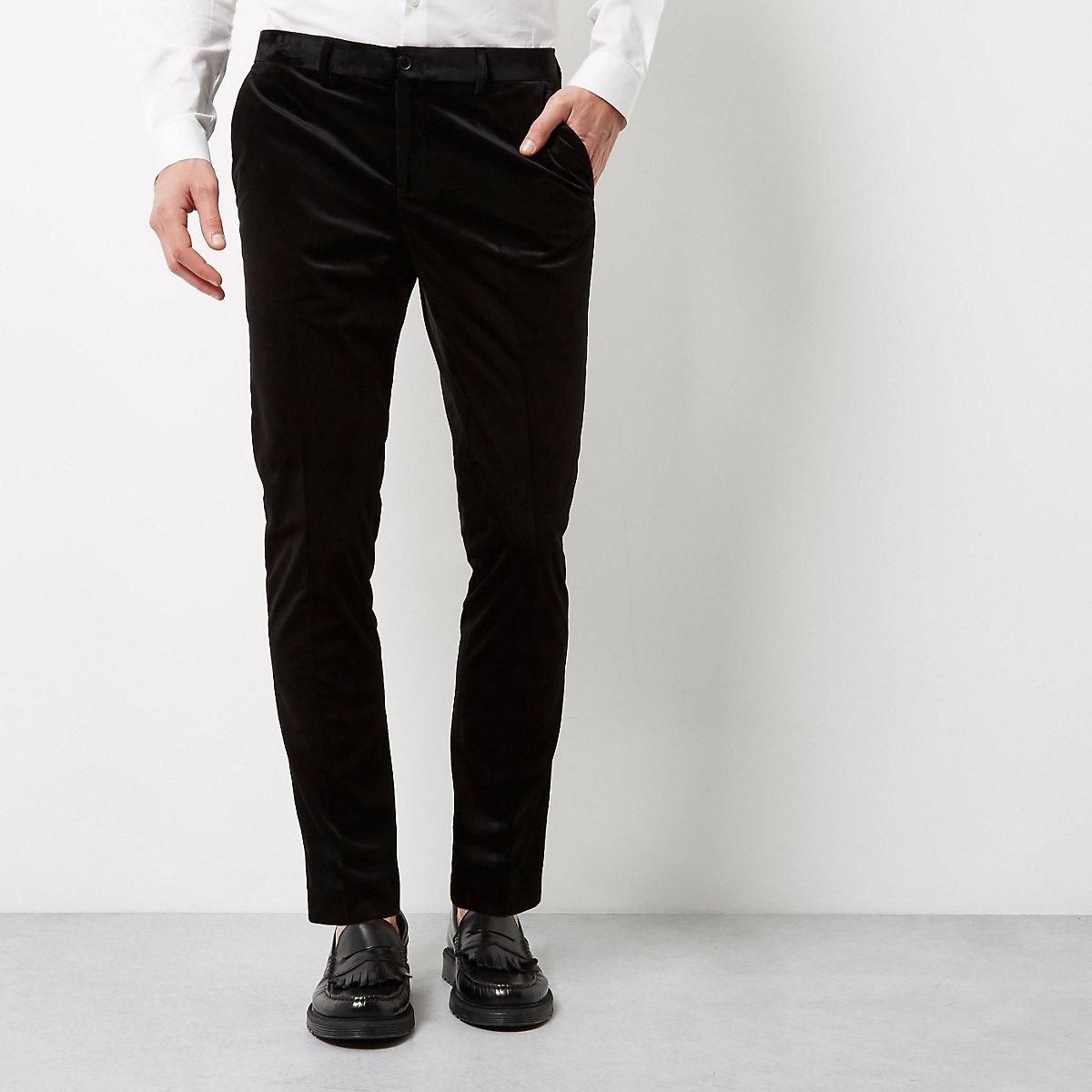 Black smart velvet skinny fit pants