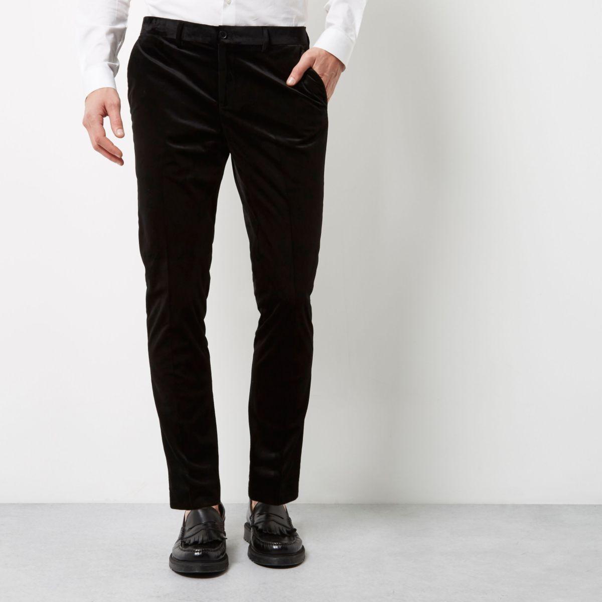 Black smart velvet skinny fit trousers