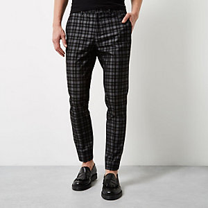 Grey check velvet skinny fit trousers